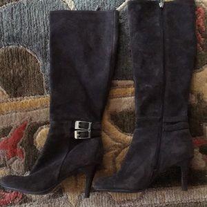 Calvin Klein high heel chocolate brown suede boots